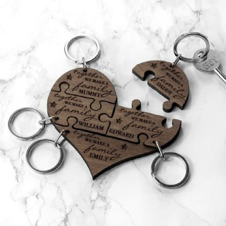 Personalised Family Together Jigsaw Heart Wood Keyring